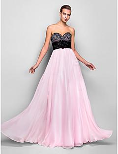 프롬/밀리터리 볼/저녁 정장파티 드레스 - 블러슁 핑크 A라인 바닥 길이 스위트하트 쉬폰 플러스 사이즈