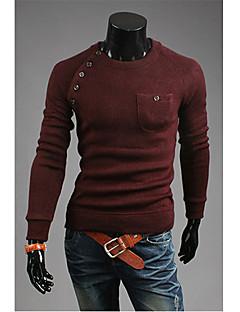 v effen kleur onregelmatige gesp splicing afslanken knitwear (wijn)
