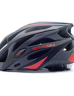 MOON Cycling Helmet Black+Red PC+EPS 25 Vents MTB Protective