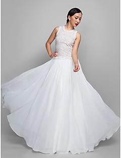 Formal Evening/Military Ball Dress - Ivory Sheath/Column Jewel Floor-length Chiffon/Lace