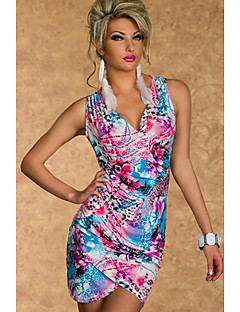 Women's Club Sexy Bodycon Dress,Print Deep V Above Knee Sleeveless Blue / Green Polyester Summer