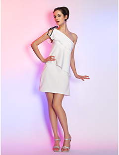 Homecoming Cocktail Party/Graduation/Holiday Dress - Ivory Plus Sizes Sheath/Column One Shoulder Short/Mini Stretch Satin