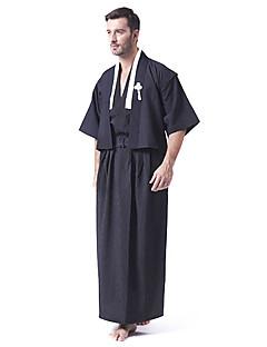 Black Satin Japanese Samurai Kimono Men's Costume
