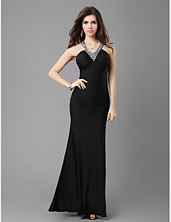 Formal Evening/Wedding Party/Military Ball Dress - Black Sheath/Column V-neck Ankle-length Jersey