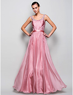 A-linje/Prinsesse Stropper - Skoleball/Militærball/Formell Aften Dress - Perle Rosa Gulvlengde Chiffon Plus Sizes