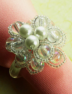 Glass Beads Floral Napkin Ring Set Of 6 , Acrylic Dia 4.5cm