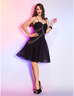 Cocktail Party/Holiday Dress - Black Plus Sizes A-line Spaghetti Straps Knee-length Chiffon