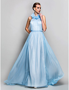 Formal Evening / Prom / Military Ball Dress - Sky Blue Plus Sizes / Petite Sheath/Column High Neck Sweep/Brush Train Chiffon