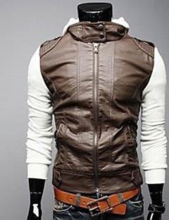 Zhelin трикотажные рукава Короткие Тонкий с капюшоном кожаное пальто