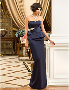 Formal Evening/Military Ball Dress - Dark Navy Sheath/Column Sweetheart Floor-length Satin