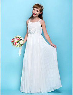 Lanting Bride® Floor-length Chiffon Junior Bridesmaid Dress Sheath / Column Spaghetti Straps Empire with Draping / Flower(s) / Ruching