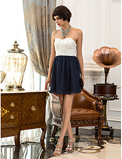 Homecoming Cocktail Party/Homecoming/Holiday Dress - Multi-color A-line Sweetheart Short/Mini Chiffon/Lace