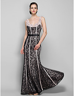 Formal Evening / Military Ball Dress - Plus Size / Petite Sheath/Column Straps Floor-length Lace