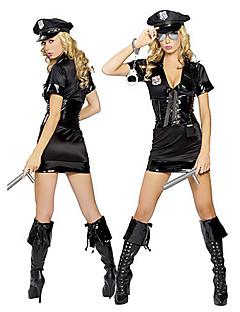 Hot uniforme noir de la fille Polyester Carnaval de police avec des menottes et esponton