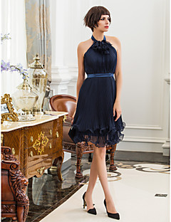 Kappe / Kolonne Høyhals - Cocktail Fest/Højtid Dress - Mørk Navy Knelengde Chiffon/Stretch sateng