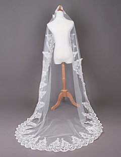 One Tier Cathedral Wedding Veil With Applique Edge
