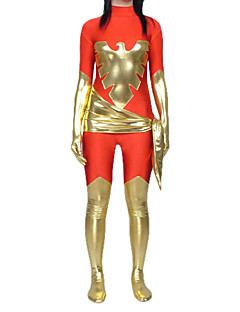 Unisex Shiny Golden Phoenix Pattern Red Lycra Zentai