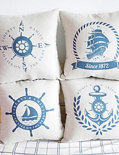 Jeu de 4 housses classique Maritime Greenwich coussin décoratif
