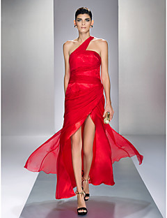 Formal Evening/Prom/Military Ball Dress - Ruby Plus Sizes Sheath/Column One Shoulder Ankle-length Chiffon/Stretch Satin