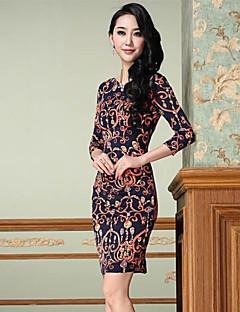 Moda Europa Slim vestido vintage da Mulher