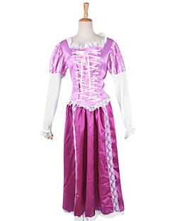 capelli lunghi delle donne principessa rosa di raso di carnevale festa in costume