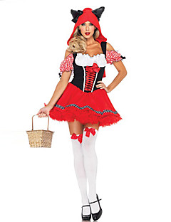 Cosplay Costumes Princess Fairytale Festival/Holiday Halloween Costumes Red Patchwork Dress Halloween Carnival Female Polyester