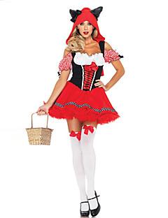 תחפושות קוספליי נסיכות אגדה פסטיבל/חג תחפושות ליל כל הקדושים אדום טלאים שמלה האלווין (ליל כל הקדושים) קרנבל נקבה פוליאסטר