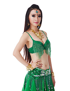 Belly Dance Tops Women's Performance Polyester Sequins / Tassel(s) 1 Piece Natural Top