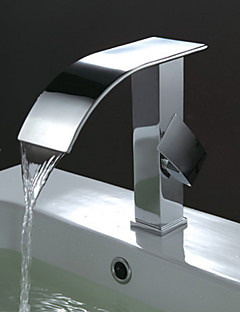 Bathroom Sink Faucet Contemporary Design Waterfall Faucet(Chrome Finish)
