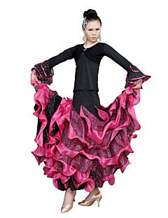 Ballroom Dance Dresses Women's Training Tulle Ruffles Long Sleeve Natural