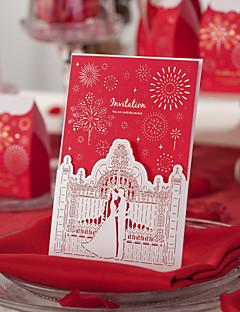 Red Classic Theme Laser Cut Wedding Invitation - Set of 50