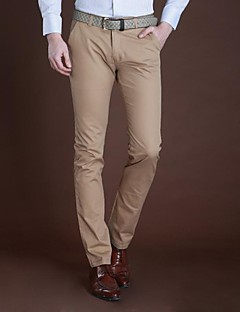 Men's Solid Casual Chinos,Cotton Black / Blue / Green / White / Yellow