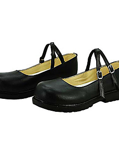 Date A Live Kurumi Tokisaki Round-toe Black PU Leather Cosplay Shoes