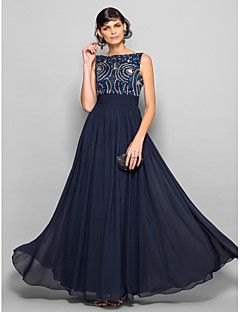 TS Couture® Prom / Military Ball / Formal Evening Dress - Dark Navy Plus Sizes / Petite A-line Scoop Floor-length Chiffon