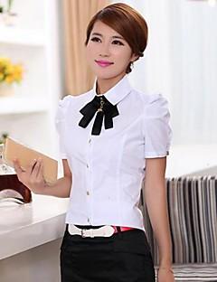 Mulheres Camisa Formal Simples Verão,Sólido Azul / Branco Colarinho de Camisa Manga Curta Fina