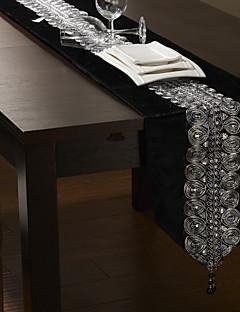 """Svart / Silver Table Runner 80 """"× 12"""", Velvet"""