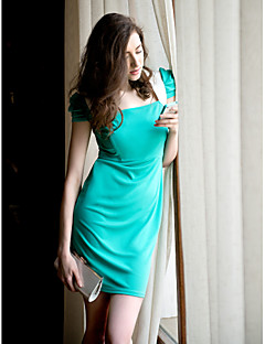 Ts contrasterende kleur plooien Mouwen schede jurk
