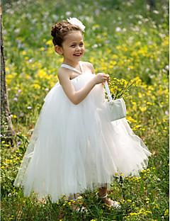 vestido de la muchacha del vestido del vestido de bola cabestro té de longitud de tul tutú / de la flor con flor