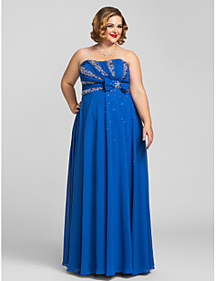 Formal Evening/Prom/Military Ball Dress - Royal Blue Plus Sizes Sheath/Column Strapless Floor-length Chiffon