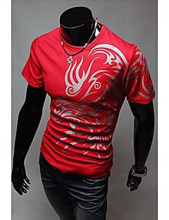 Mænds rund hals Etniske Print Fashion T-Shirt