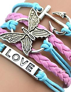 Dame ID Armbånd Lær Armbånd Sjal Armbånd Unikt design Kjærlighed Hjerte Europeisk Inspirerende initial Smykker flettet Mote Multi Layer