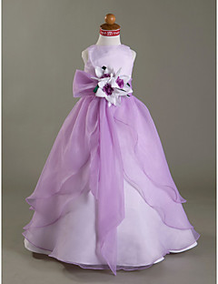 A-line/Princess/Ball Gown Floor-length Flower Girl Dress - Satin/Organza Sleeveless