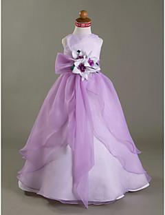 A-Şekilli / Balo Abiyesi / Prenses Yere Kadar Çiçekçi Kız Elbisesi - Organze / Saten Kolsuz Kayık ile Çiçek(ler) / Kurdeleler / Ayrık Ön