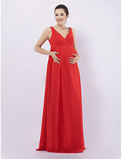 LAN TING BRIDE Floor-length Chiffon Bridesmaid Dress - Sheath / Column V-neck / Straps Maternity with Draping