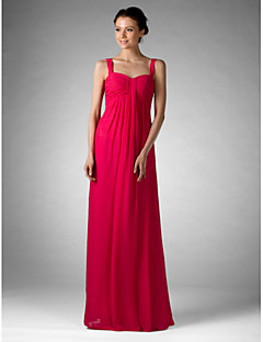 Lanting Bride® Floor-length Chiffon Bridesmaid Dress Sheath / Column Off-the-shoulder / Sweetheart Plus Size / Petite withDraping /