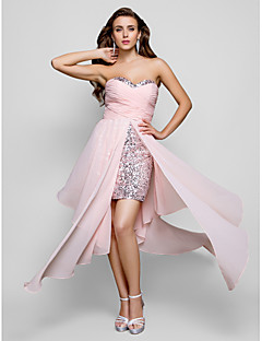 Sheath/Column Sweetheart Strapless Asymmetrical Chiffon Sequined Evening/Prom Dress