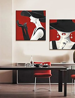 Stretched Canvas Art People The Temptation of Red Lip Set of 2