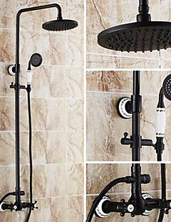 Antik Badewanne & Dusche Regendusche Handdusche inklusive with  Keramisches Ventil Zwei Griffe Drei Löcher for  Bronze mit Ölschliff ,