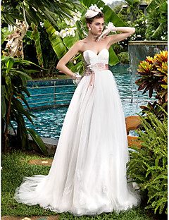 Lanting A-line Maternity Wedding Dress - Ivory Sweep/Brush Train Sweetheart Tulle/Lace