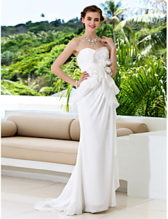 Lan Ting Sheath/Column Wedding Dress - Ivory Court Train Sweetheart Chiffon